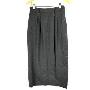 Vtg 80s Skirt Maxi Modest Wool Gray Sz 8 Pleated